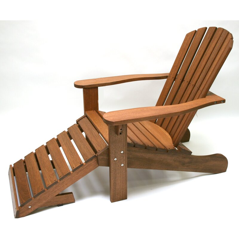 Attirant Solid Wood Adirondack Chair With Ottoman