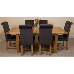 Sairsingh Kitchen Solid Oak Extendable Dining Set With 6 Chairs By Rosalind Wheeler