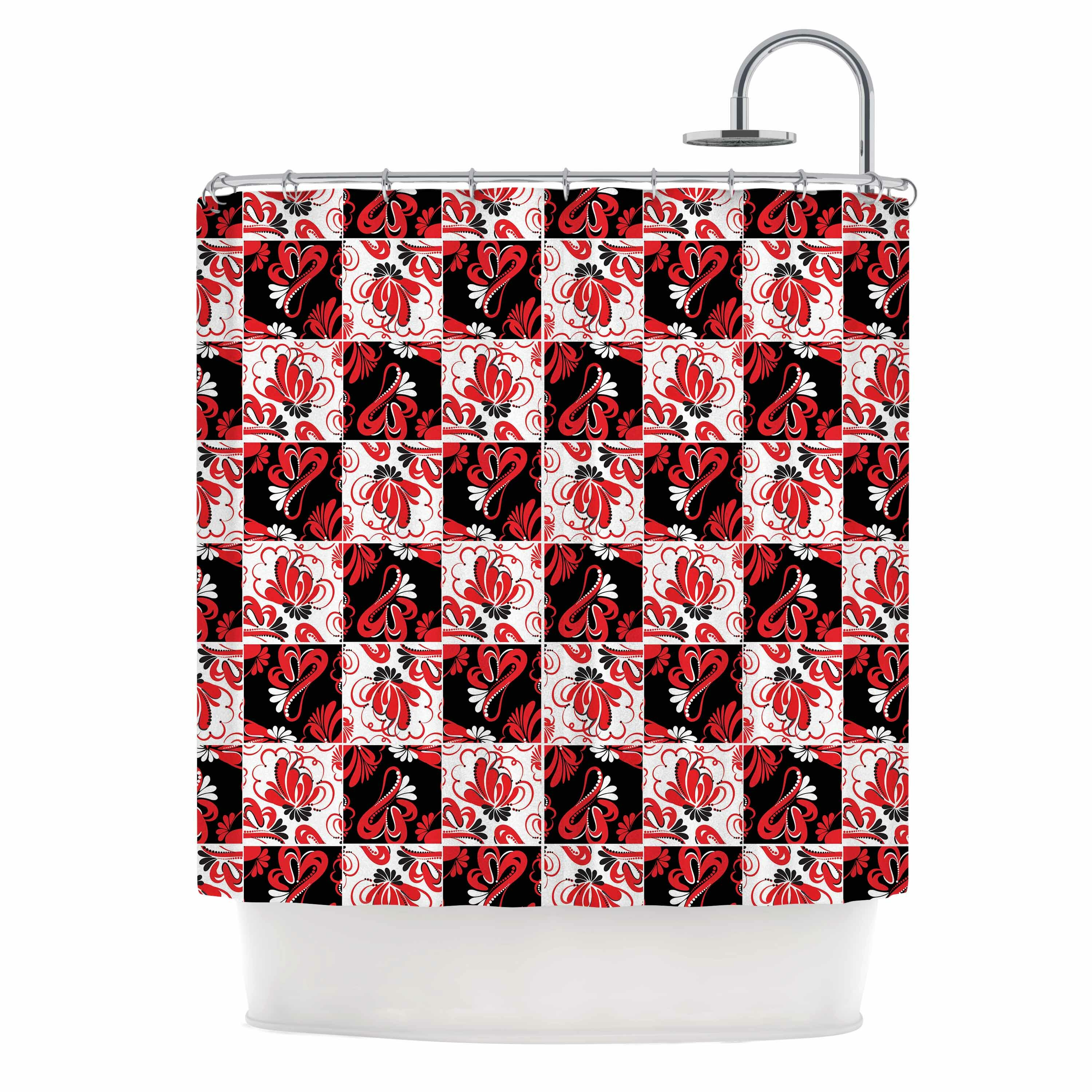 East Urban Home Texture Red Flowers Shower Curtain