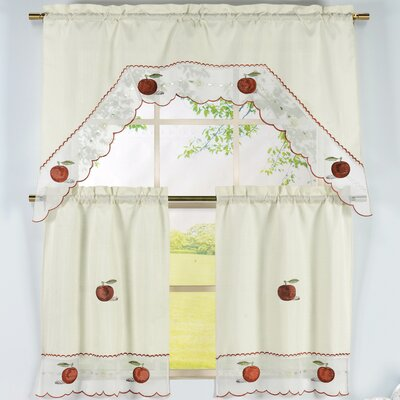 Window Elements Apple Time 3 Piece Embroidered Kitchen Valance and Tier Set