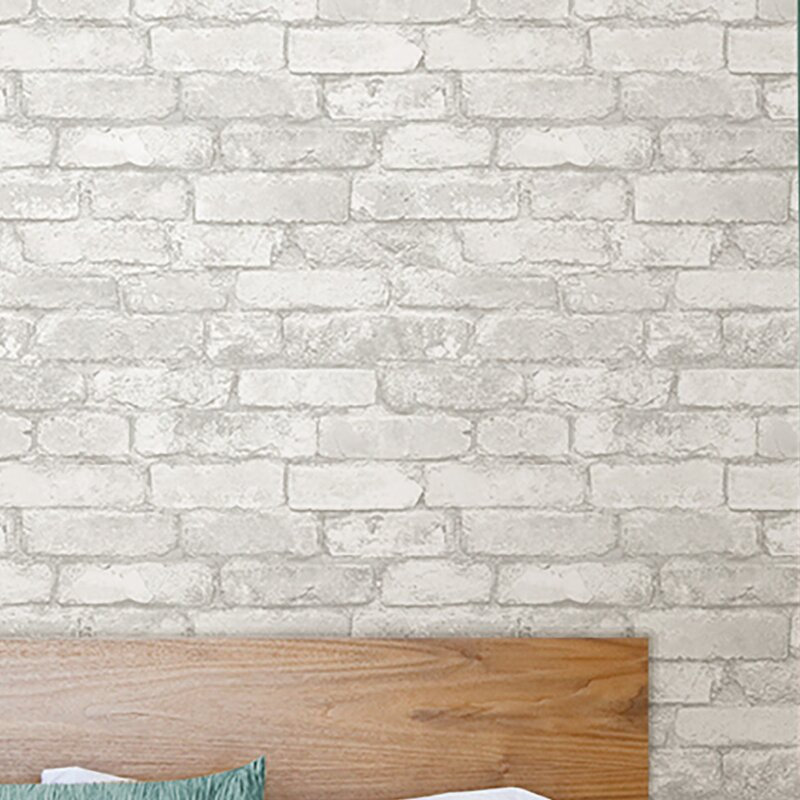 """Wokingham Grey and White 18' x 20.5"""" Brick Peel And Stick Wallpaper Roll"""