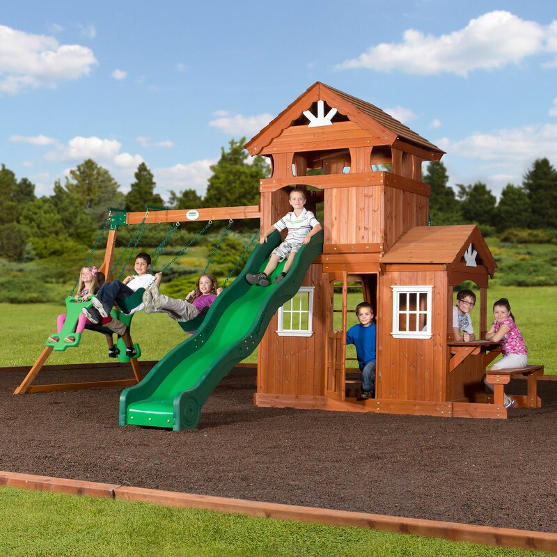 Backyard Discovery Cedar View Swing Set backyard discovery shenandoah all cedar swing set & reviews | wayfair
