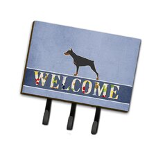 Doberman Pinscher Welcome Leash or Key Holder by Caroline's Treasures