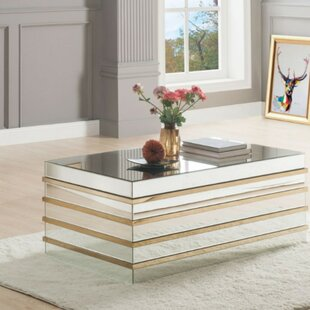 Rillie Modern Rectangular Metal and Mirror Coffee Table