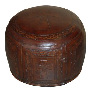 Roberto Handtooled Cross Leather Ottoman by ..