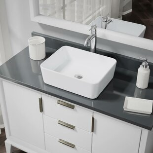 Shopping for Vitreous China Rectangular Vessel Bathroom Sink with Faucet and Overflow By René By Elkay