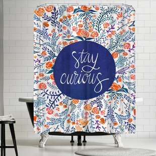 Stay Curious Red Navy Single Shower Curtain