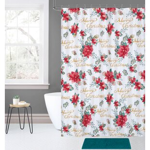 Overturf 14 Piece Joy Noel Holiday Poinsettia Pinecones Shower Curtain Set