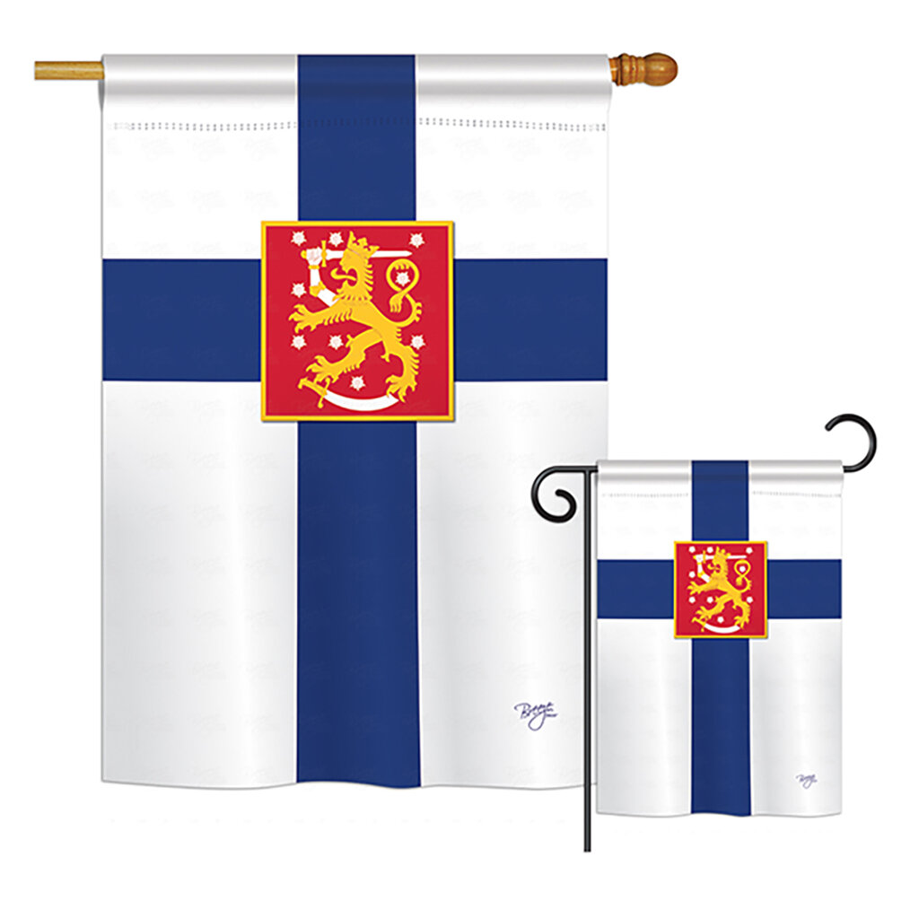 Breeze Decor Finland Of The World Nationality Impressions Decorative Vertical 2 Sided Polyester 2 Piece Flag Set Wayfair