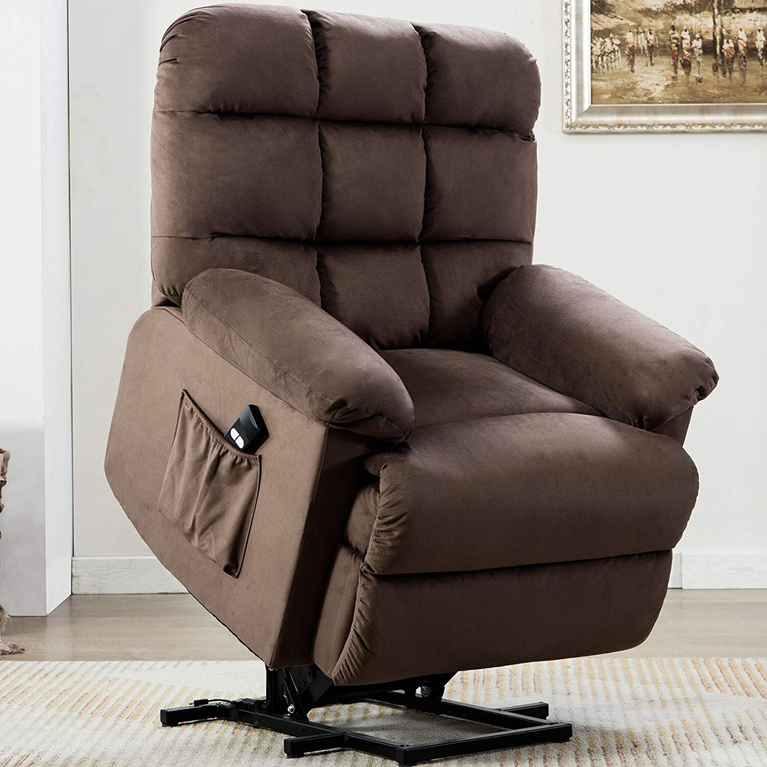 PU Leather Black Manual Swivel Rocker Recliner Chair Side /& Front Pockets for Living Room 2 Cup Holders Glider Rocking Reclining Chair for Nursery Ergonomic Lounge Chair with Lumbar Pillow
