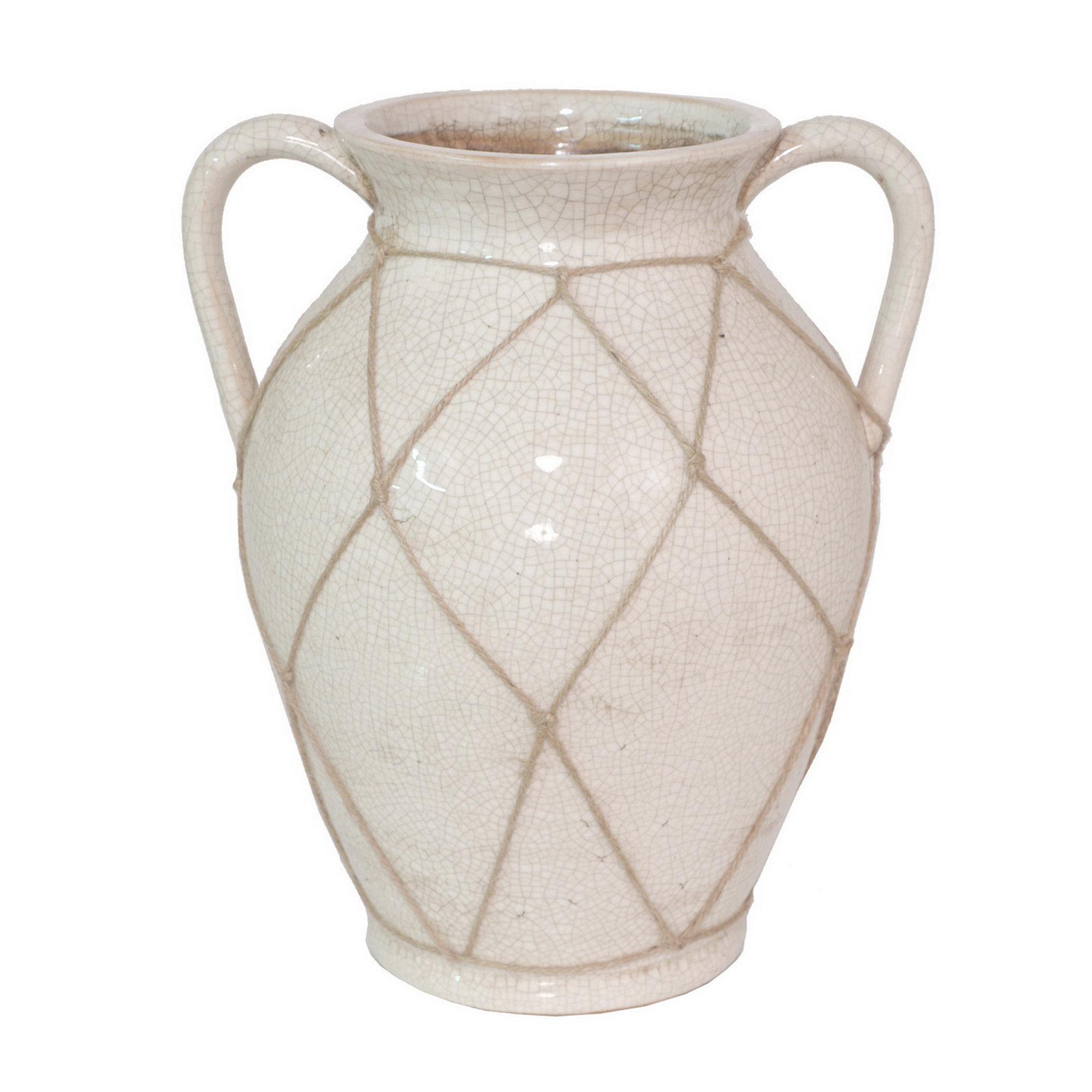 One Allium Way White Ceramic Table Vase with Handles | Wayfair