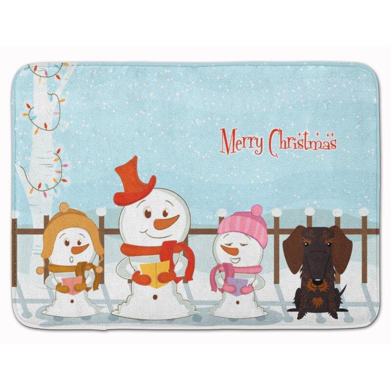 The Holiday Aisle Christmas Wire Hair Dachshund Memory Foam Bath Rug ...