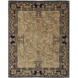 Purchase One-of-a-Kind Hudson Oaks Hand-Knotted 7'10 x 10' Wool Black/Beige Area Rug By Isabelline