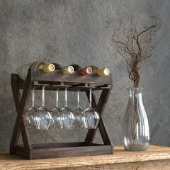 Wine Caddy Wine Rack Rustic Oak Distressed  Holds 12 Bottles English Farmhouse Country Yellow