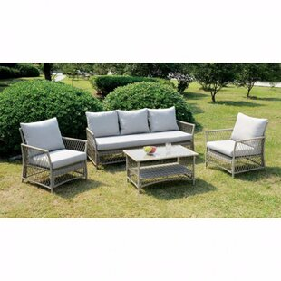 Finklea Patio 4 Piece Rattan Sofa Set with Cushions