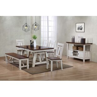 Keturah Farmhouse 6 Piece Extendable Dining Set