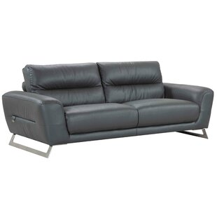Orren Ellis Hawkesbury Common Luxury Italian Upholstered Living Room Leather Sofa