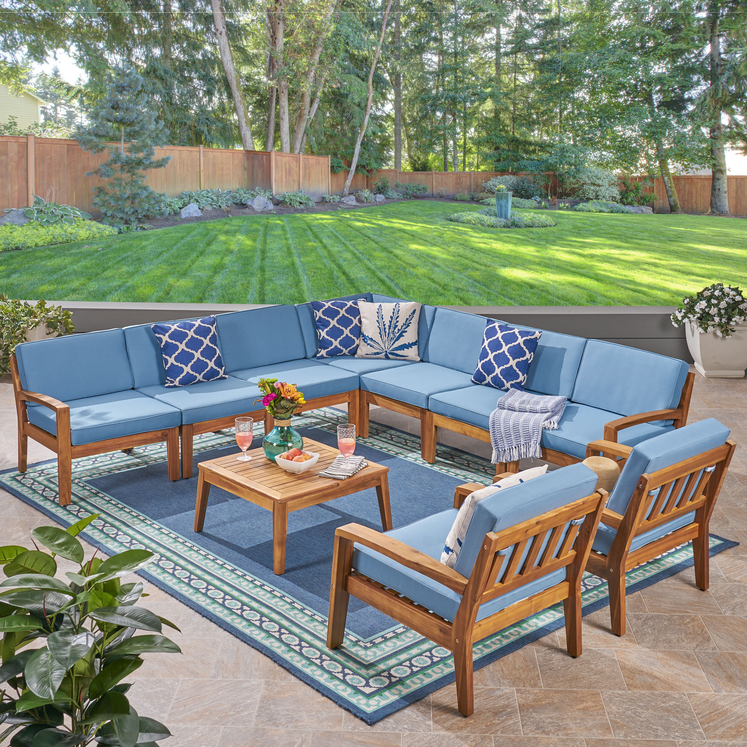 Outdoor 9 Piece Sectional Seating Group