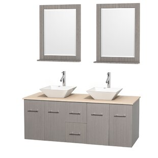 Top Reviews Centra 60 Double Gray Oak Bathroom Vanity Set with Mirror By Wyndham Collection