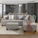 Dhanvika 104.7'' Wide Right Hand Facing Sofa & Chaise with Ottoman by Latitude Run®