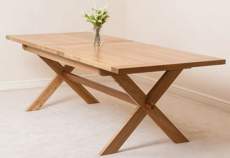 Baldev Kitchen Solid Oak Extendable Dining Set with 8 Chairs