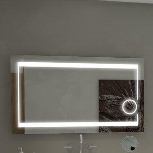 Mirrors with lights youll love wayfair aurora illuminated bathroom vanity wall mirror aloadofball Images