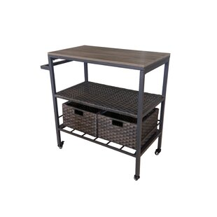 Crumbley Wicker Patio Bar Cart by Foundry Select
