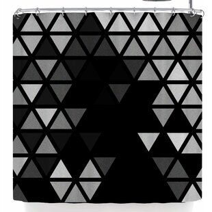 Tobe Fonseca Geometric Fractal Triangles Bl Single Shower Curtain