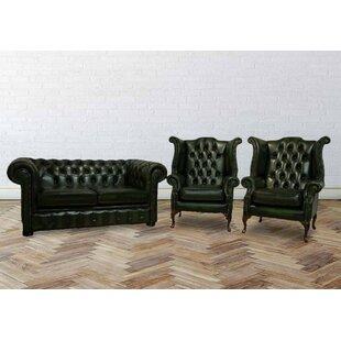 Summersville Chesterfield 3 Piece Leather Sofa Set By Rosalind Wheeler