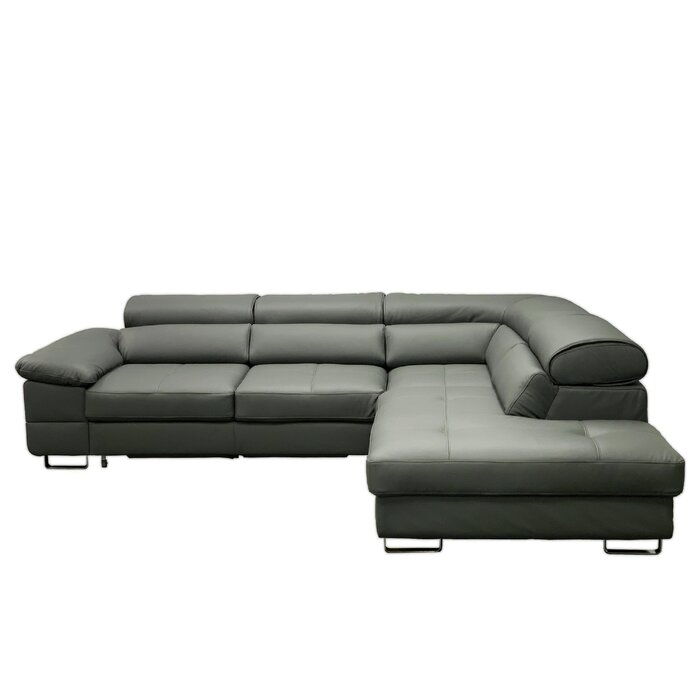 Pavel Right Hand Facing Leather Sleeper Sectional