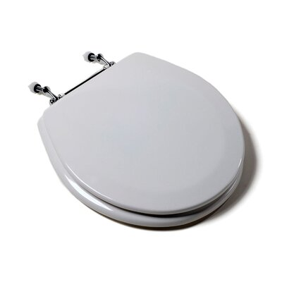 Comfort Seats Deluxe Molded Wood Round Toilet Seat Finish: White, Hinge Finish: White and Chrome Combination