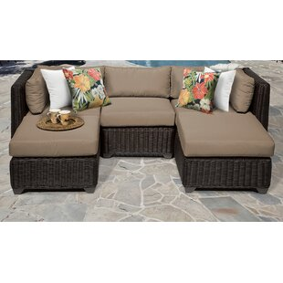 Mejia 5 Piece Outdoor Sectional Seating Group with Cushions