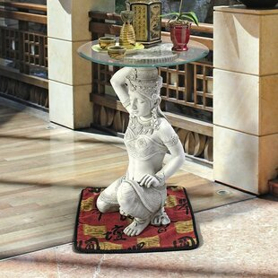 Thai Teppanom Beautiful Being Glass End Table by Design Toscano