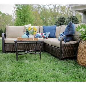 Trenton 4 Piece Wicker Sectional Deep Seating Group with Cushions