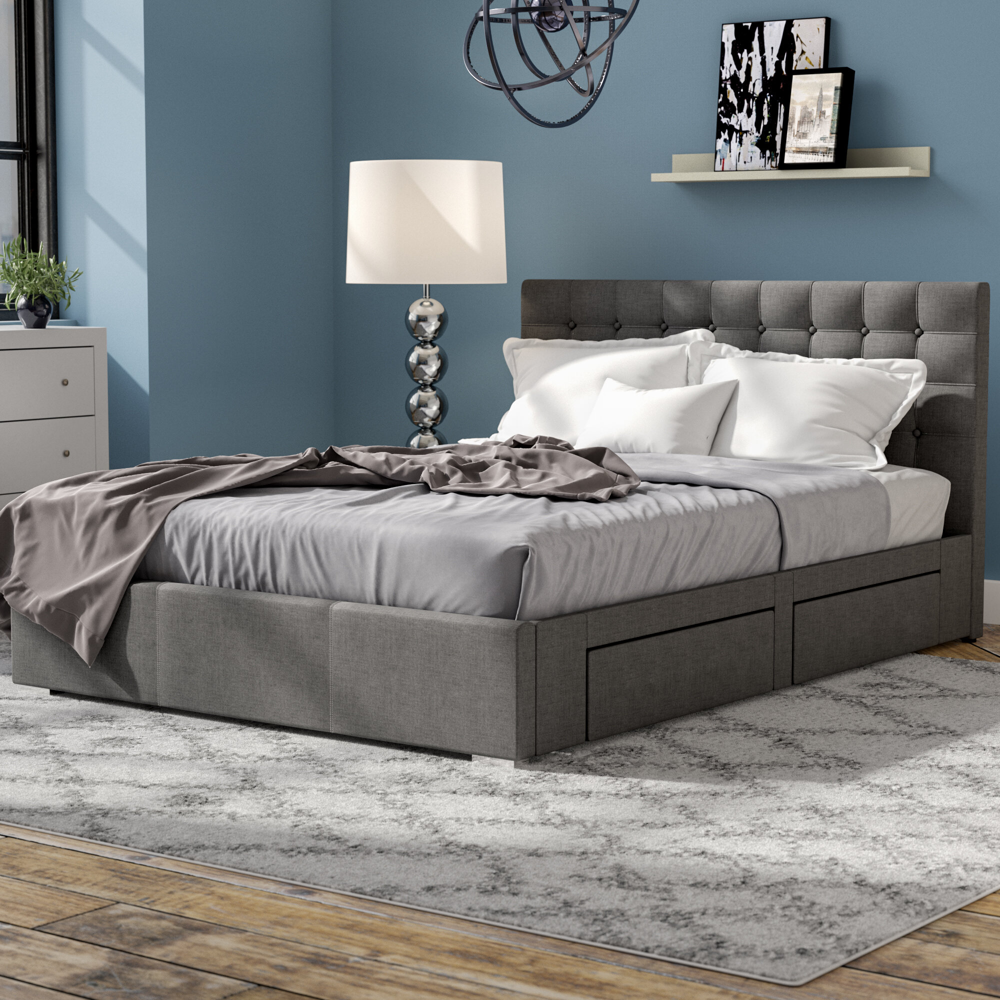 Latitude Run Myrrine Upholstered Storage Platform Bed Reviews