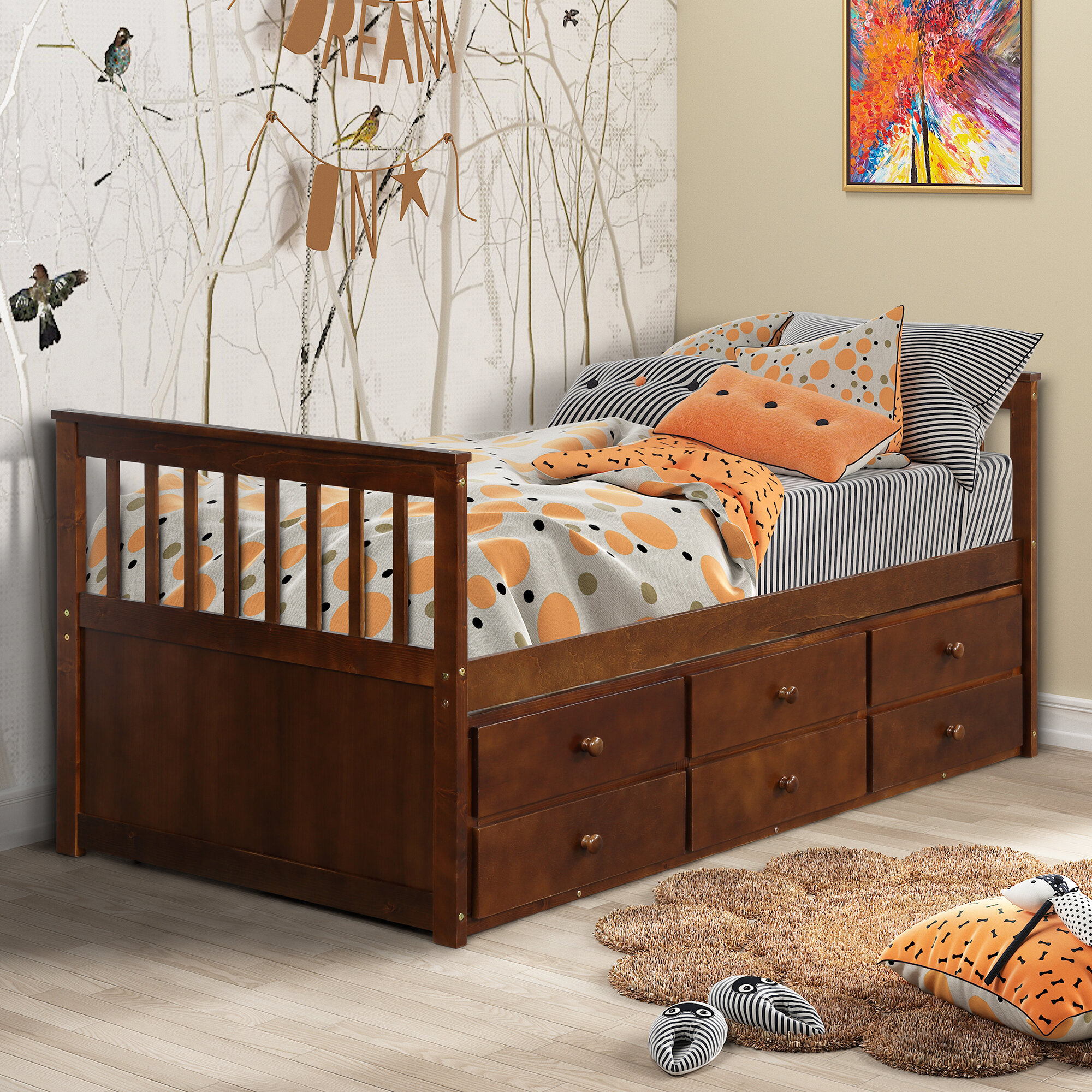 Gracie Oaks Boba Captain S Twin Bed With Trundle Wayfair