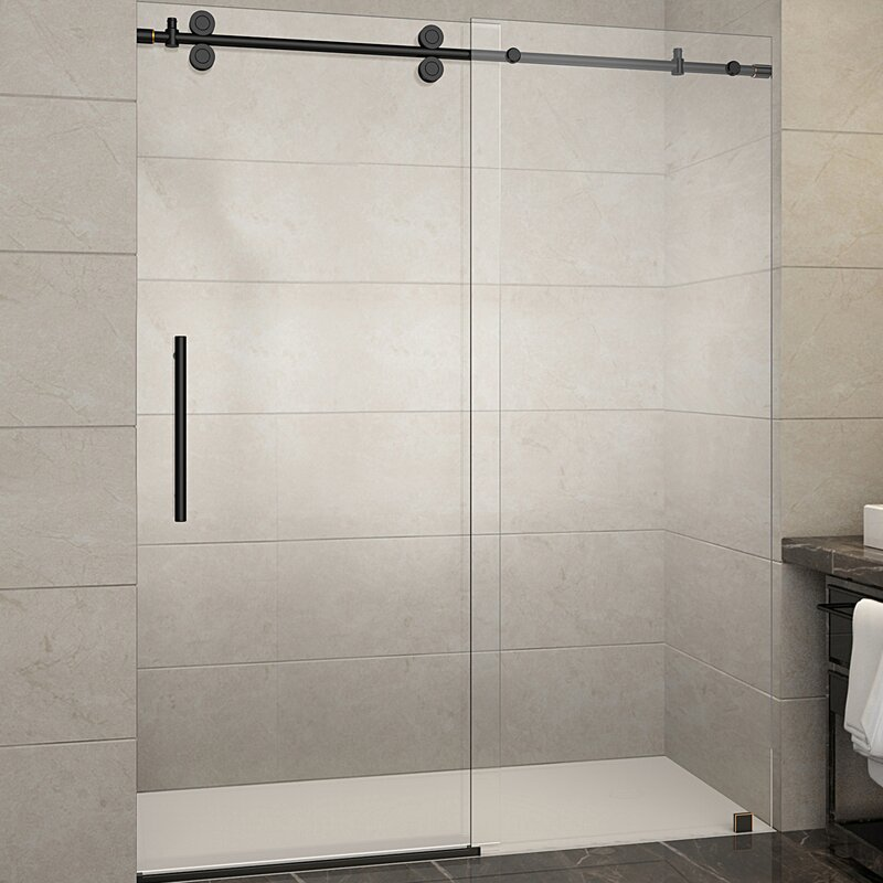 Aston Langham 60 X 75 Single Sliding Frameless Shower Door