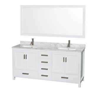 double sink white vanity.  Double Vanities You ll Love Wayfair