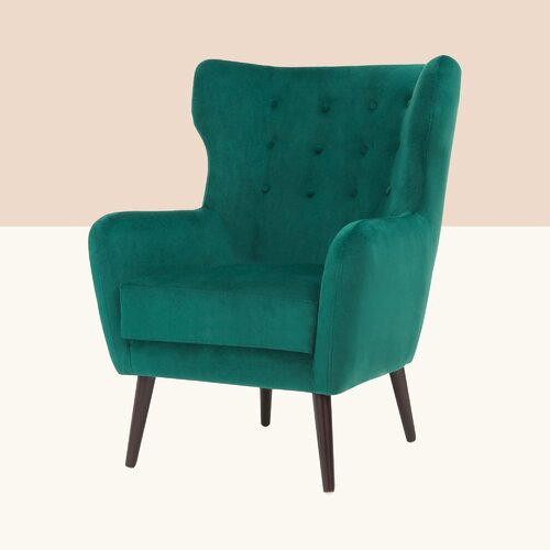Arielle Wingback Chair Hykkon Upholstery Colour: Green