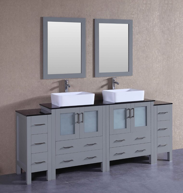 Bosconi 83 5 Double Vanity Set With Mirror Reviews Wayfair
