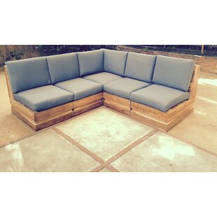 Seaside 5 Piece Teak Sunbrella Sectional Set with Cushions