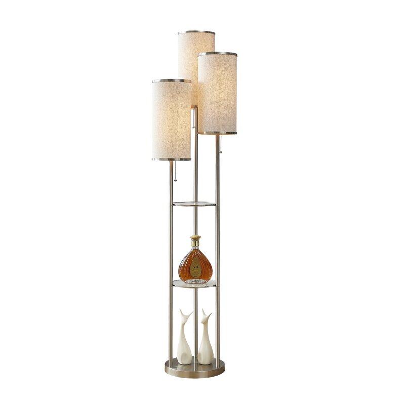 """Zaire 10"""" Tri-light Shelf Floor Lamp"""
