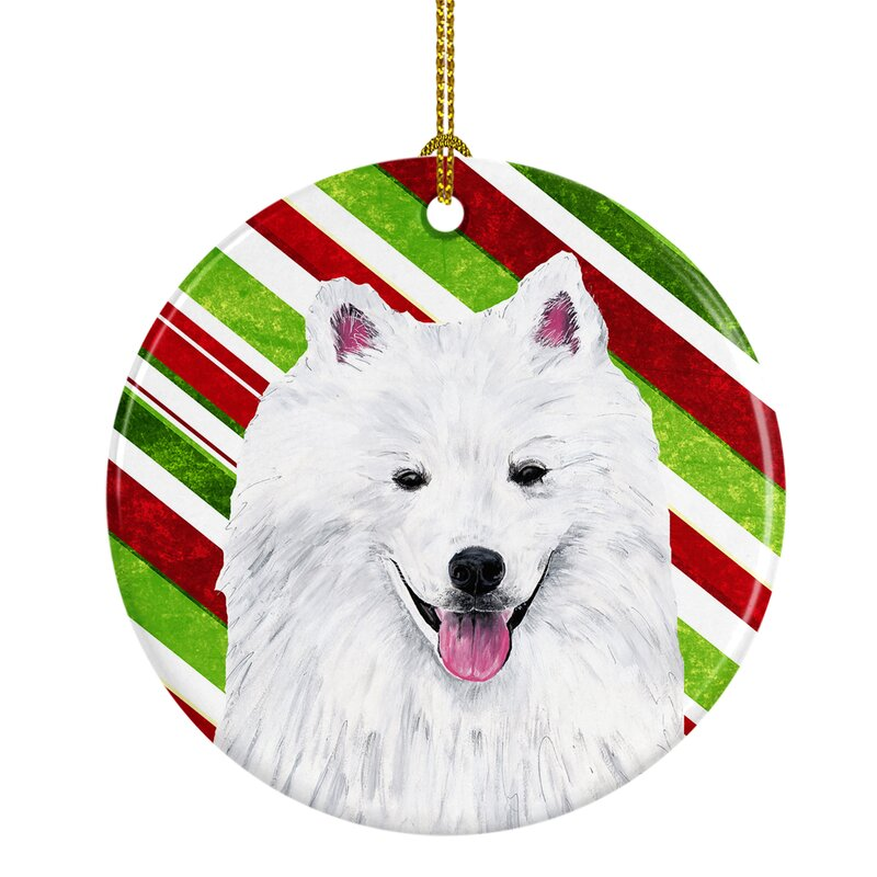 The Holiday Aisle American Eskimo Holiday Christmas Ceramic Hanging Figurine Ornament Wayfair