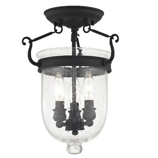 Darby Home Co Lauder Semi Flush Mount with Seeded Glass