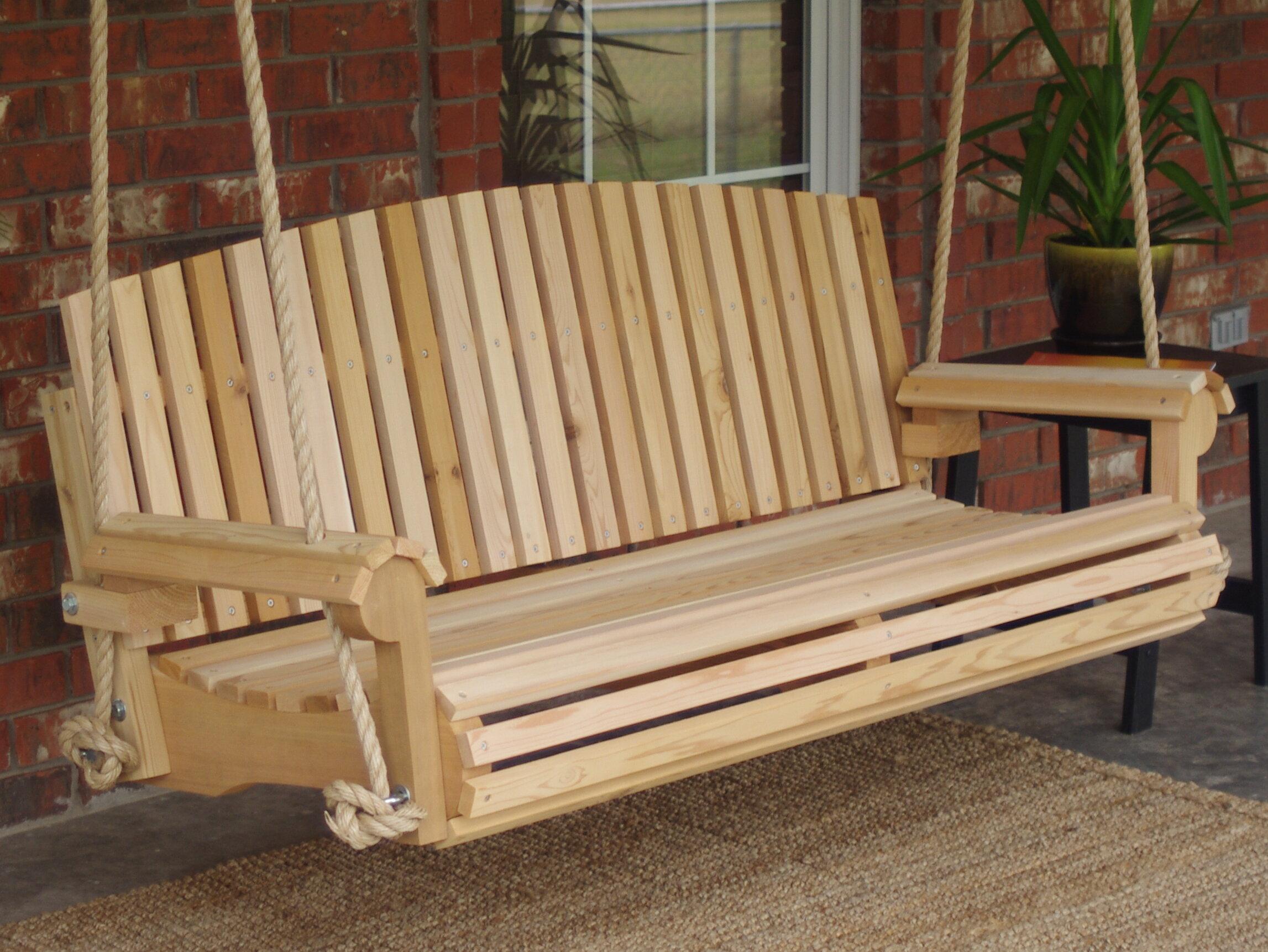 Fantastic Freya Cedar Fan Back Rope Porch Swing Andrewgaddart Wooden Chair Designs For Living Room Andrewgaddartcom