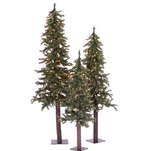 3 piece green pine trees artificial christmas tree set with 500 clear lights stand - Artificial Silvertip Christmas Tree