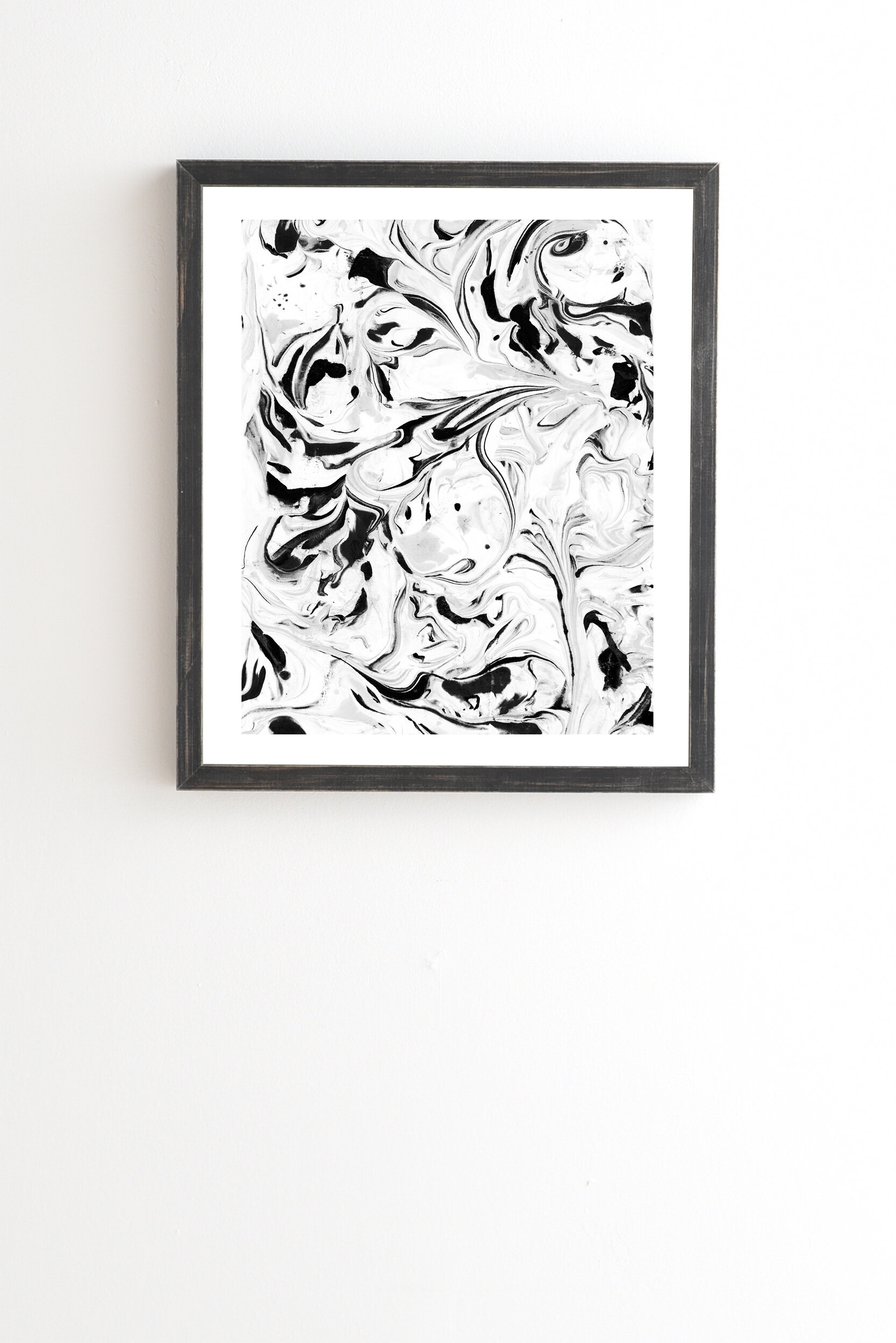 East Urban Home Black And White Marble Framed Painting Print Wayfair
