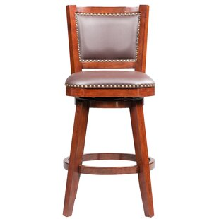 Cammy Swivel Solid Rubberwood Bar Stool