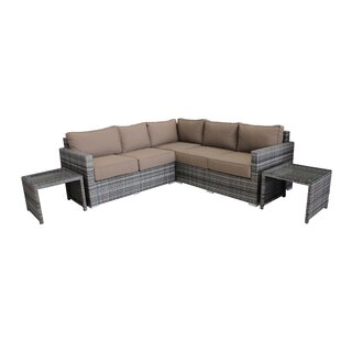 Darien 5 Piece Rattan Sunbrella Sectional Seating Group with Sunbrella Cushions