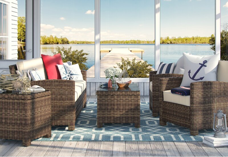 Birch Lane Lawson 5 Piece Rattan Sofa Seating Group With Cushions Reviews Wayfair